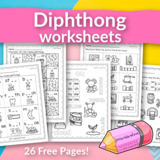 Help your students work on diphthong sounds with these free worksheets.