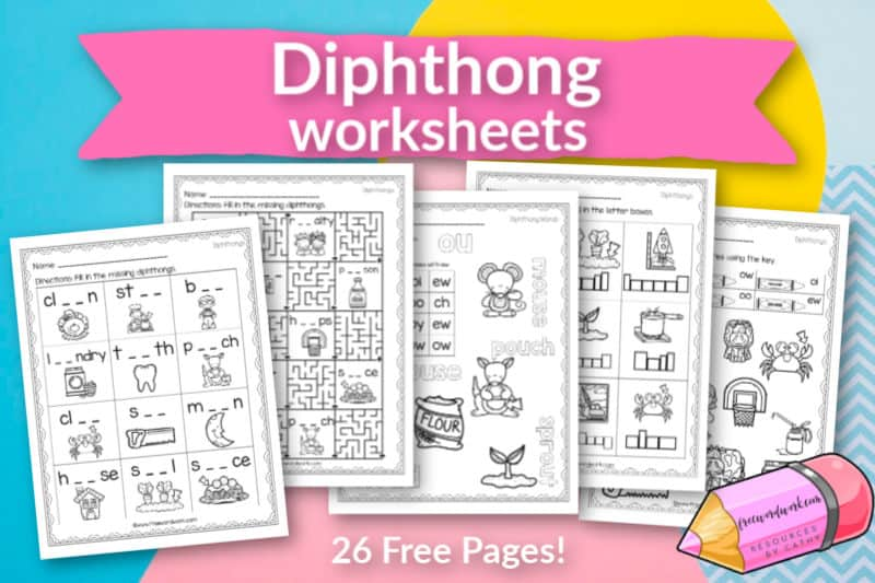 These free, printable diphthong worksheets will give your students practice with diphthong pairs.
