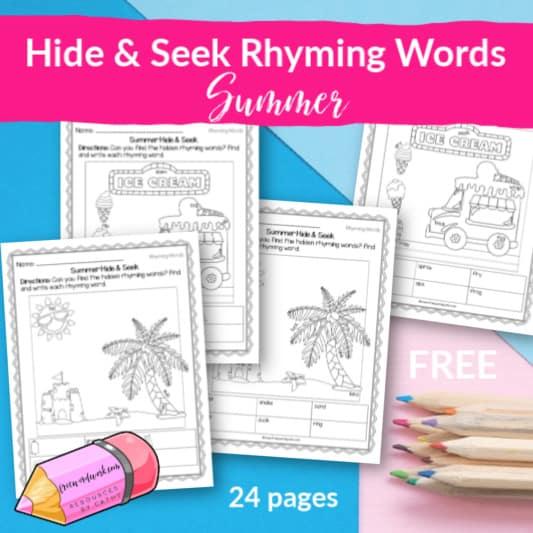 Hide and Seek Rhyming Words for Summer