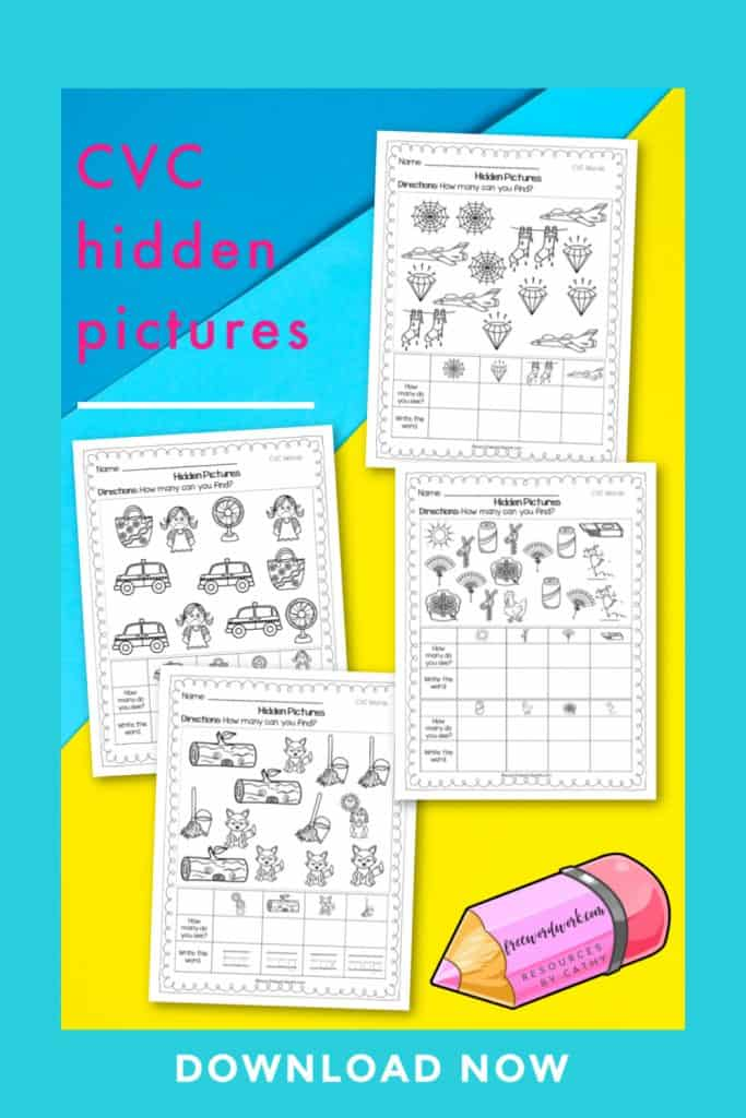These CVC hidden pictures pages will give your children practice with identifying and writing short vowel words.