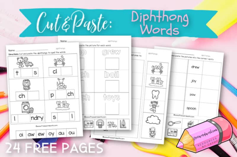 These free, printable diphthong cut and paste worksheets will give your students practice with words that contain the diphthongs ew, oi, oo, ou, ow, oy, au and aw.