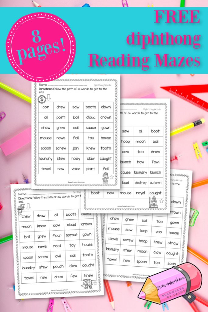 These reading mazes: diphthong paths are designed to give your students practice with words containing diphthongs.