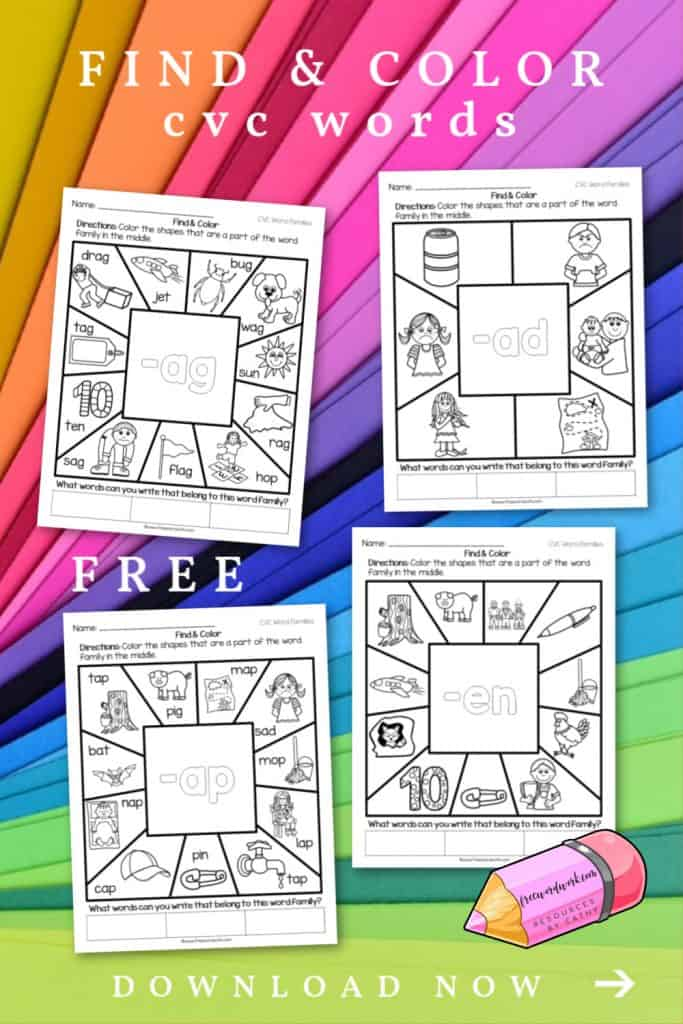 These CVC Find & Color Worksheets will give your children practice with identifying word families.