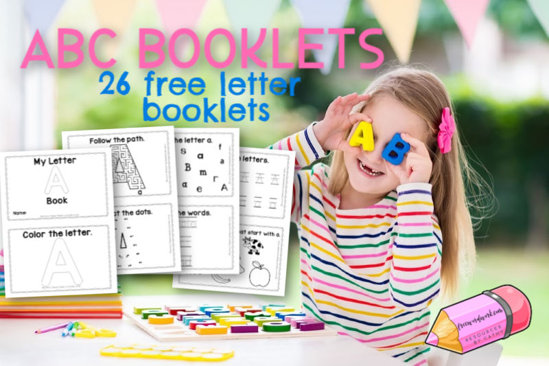 You can use these 26 free, individual alphabet booklets for free ABC practice at home or school.