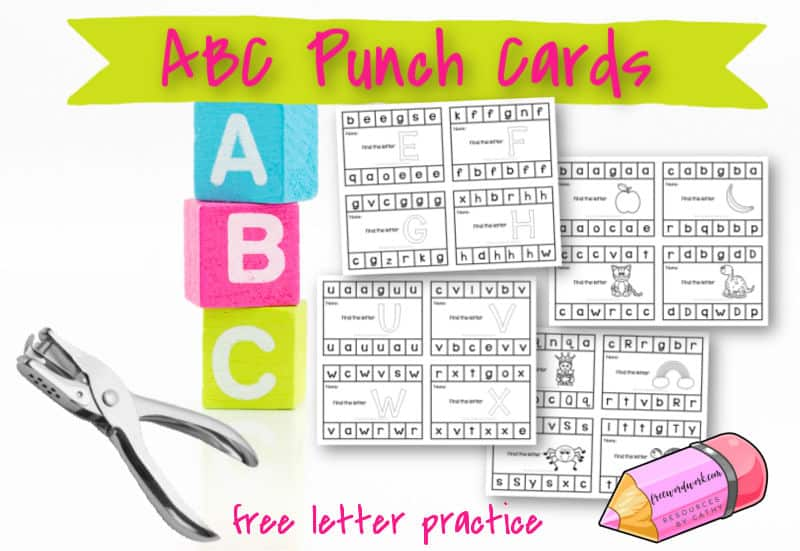 Use these free alphabet punch cards to help your children practice matching upper and lowercase letters along with beginning sounds.