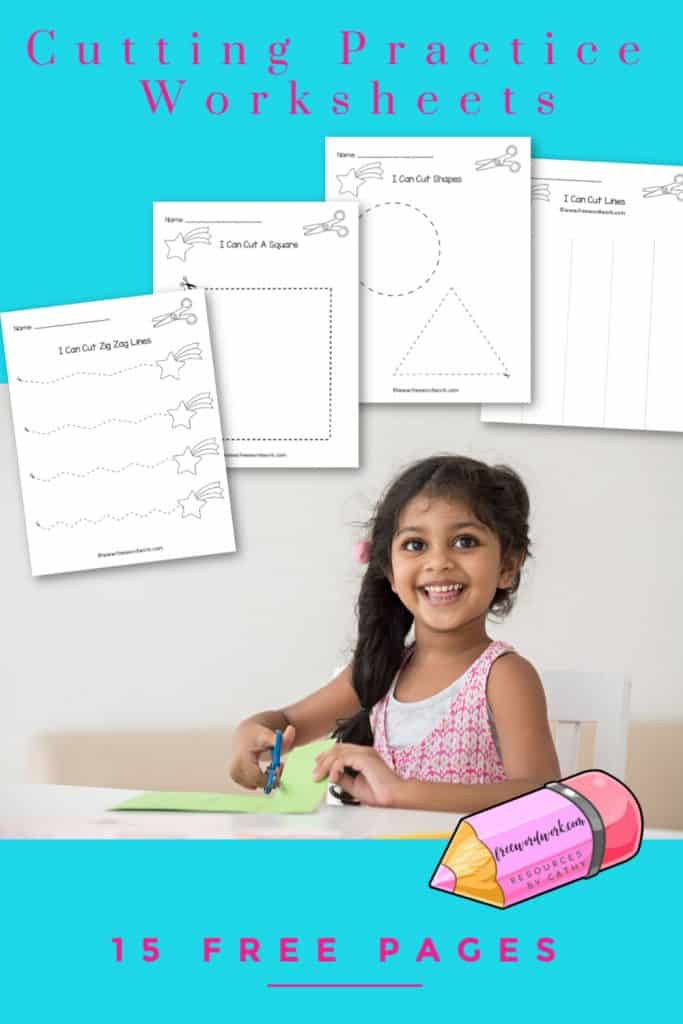 This set of 15 cutting practice worksheets will give your children practice with using scissors.