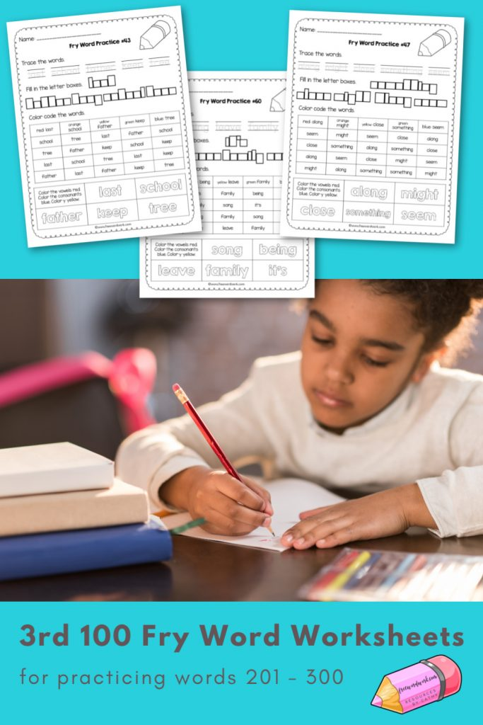 These Third Fry Word Practice Pages provide writing and reading practice for words 201 through 300.