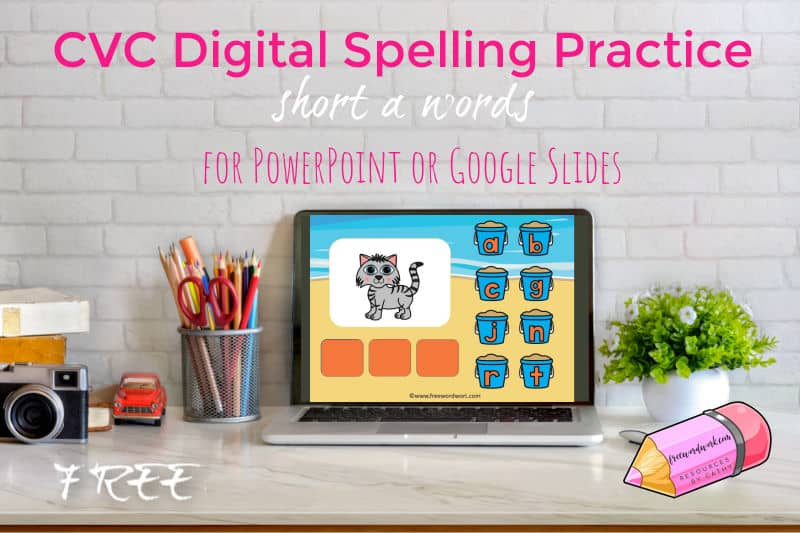 Help children working on spelling short a words (or CVC words) with this free digital resource.