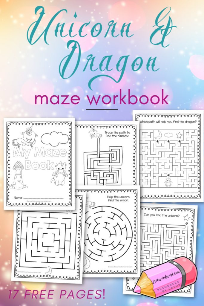 Download this free unicorn and dragon printable mazes for kids workbook to engage your children in a little hidden learning fun!