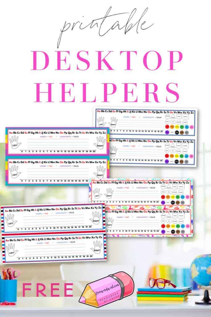 Download these free, printable desktop helpers as name tags for your student desks at home or at school.