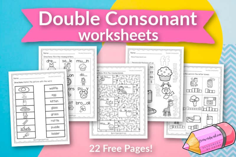 These free, printable words with double consonant worksheets will give your students practice with words containing the double letters bb, cc, dd, ff, gg, ll, mm, pp, rr, ss, tt and zz.
