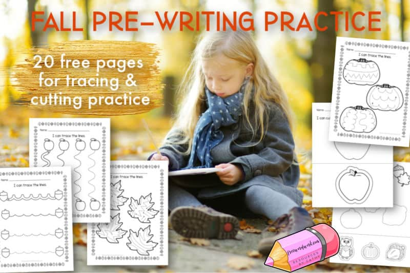These fall pre-writing practice pages will be a fun addition to your autumn fine motor practice.