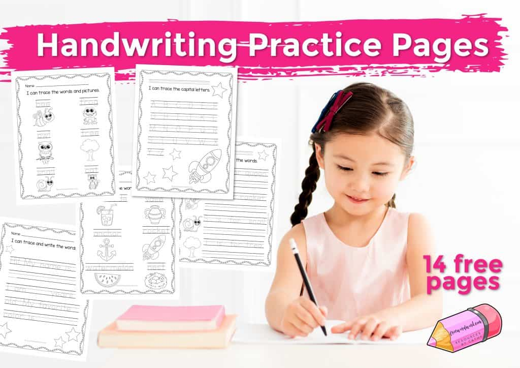 Try these free handwriting practice worksheets for working on printing. Free printables from www.freewordwork.com.