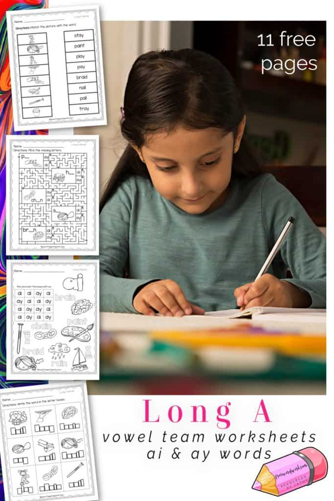 These free, printable words with long a worksheets will give your students practice with words containing the vowel teams ae and ay.