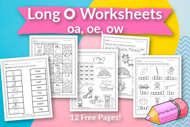 These free, printable words with long O worksheets will give your students practice with words containing the vowel teams oa, oe and ow.