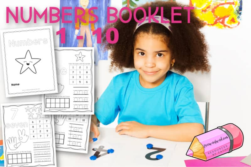 Download this free numbers booklet 1 - 10 to help your child begin practicing numbers.