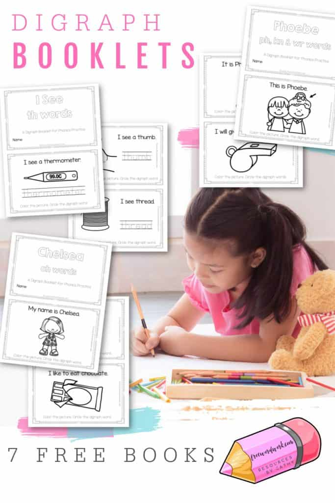 These free digraph booklets will help your children practice reading words with beginning, middle and ending digraph sounds.