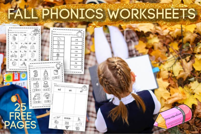 These free fall phonics worksheets are a fun way for your children to practice phonics skills with fun printables pages.