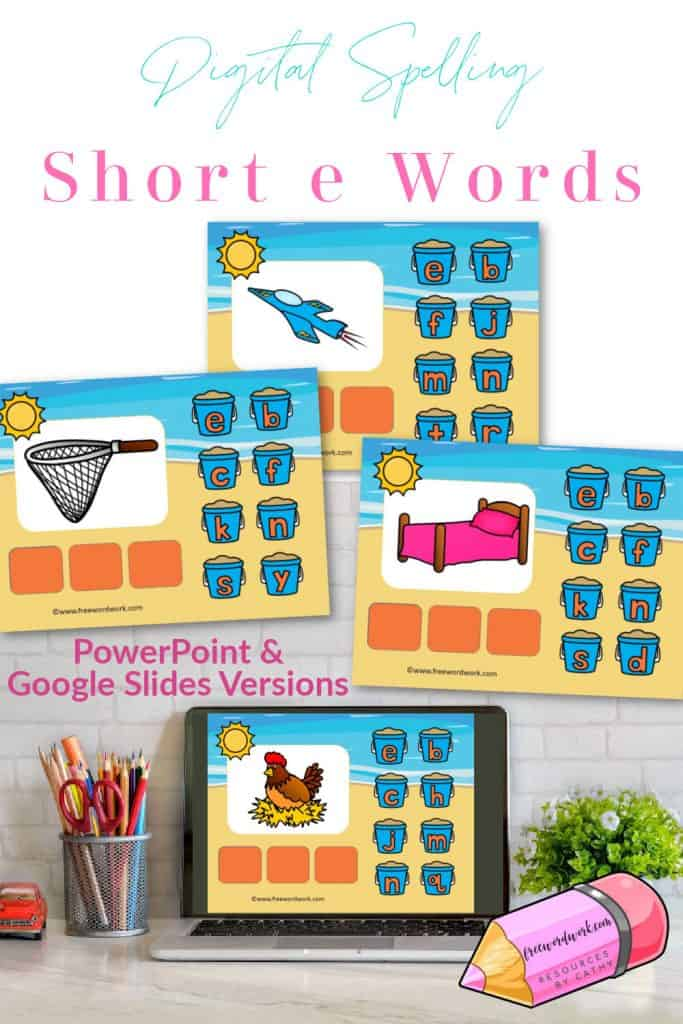 Help children working on spelling short e words with this free CVC words digital resource.