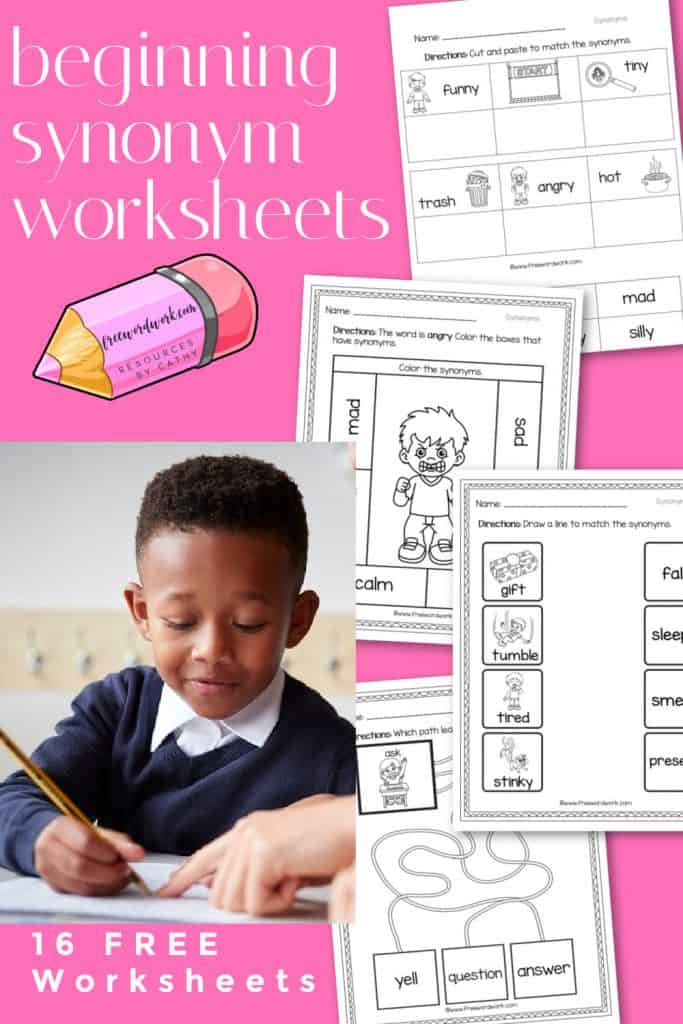 These beginning synonym worksheets will help you introduce the concept of synonyms to your children.