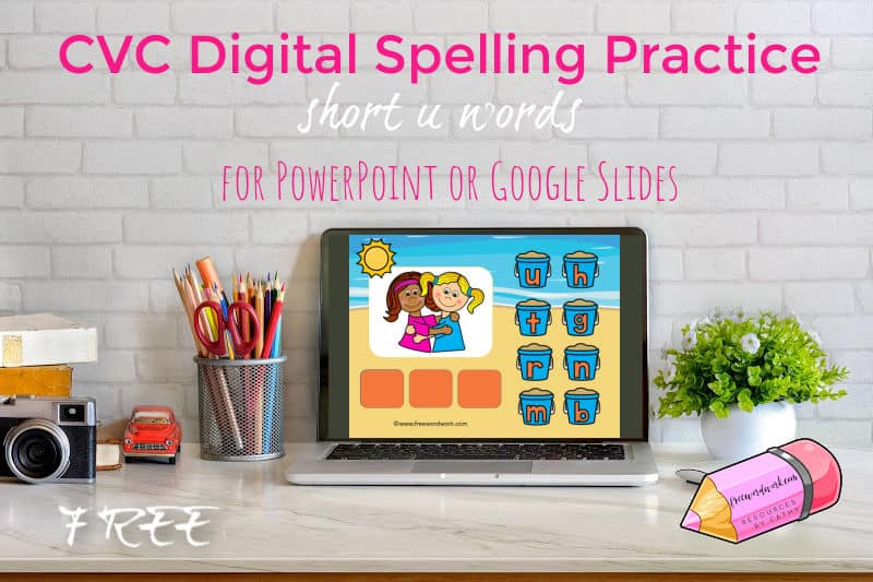 Children can practice spelling short u words with this free digital spelling words game for PowerPoint and Google Slides.