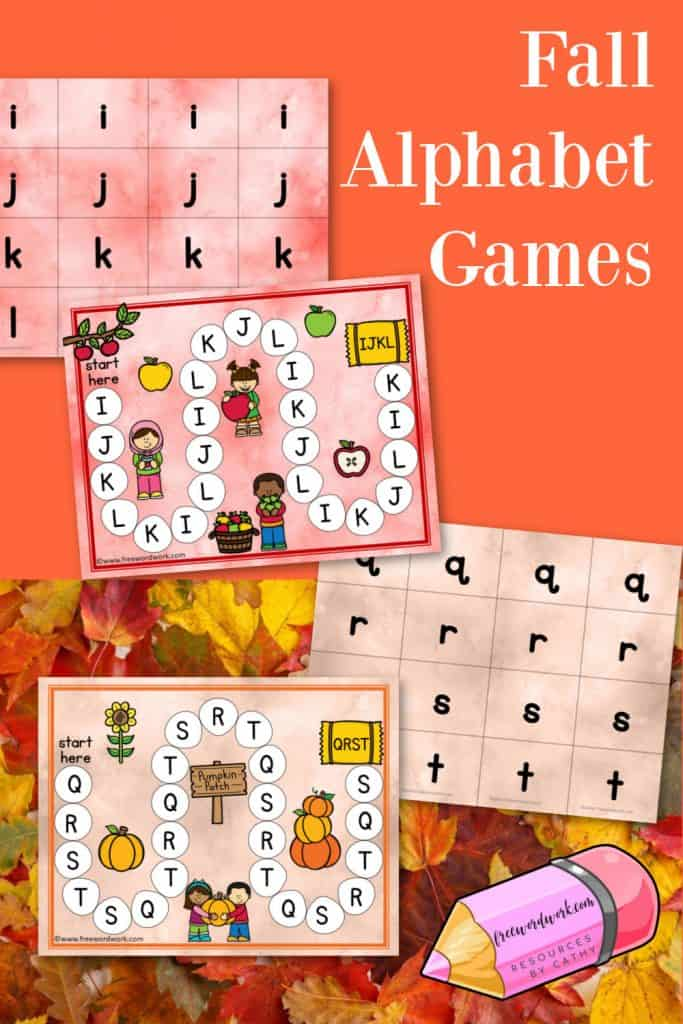 These free fall alphabet games will help your children practice matching lowercase and uppercase letters.