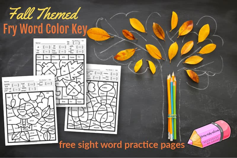 This Fall Fry Color Code set is a color by number set for Fry Word practice.