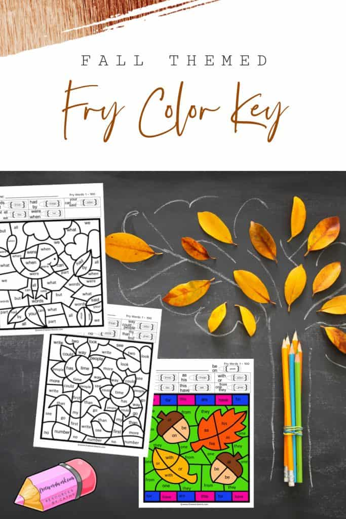 This 1st Hundred Fall Fry Color Code set is a color by number set for Fry Word practice. Free download from www.freewordwork.com.