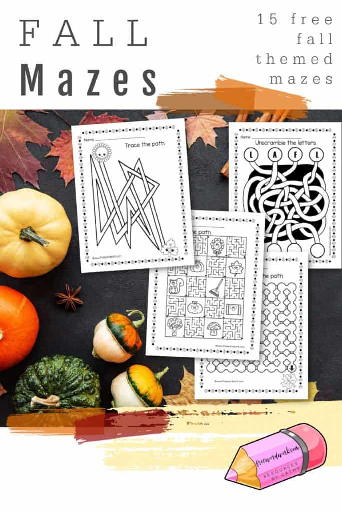 Download and print these 15 free fall mazes for children for a fun autumn activity for your children.