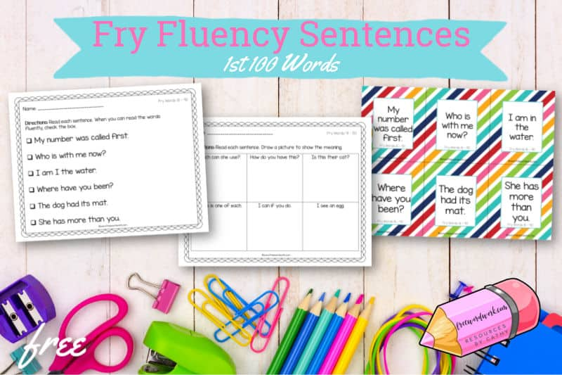 These Fry fluency sentences for the 1st 100 words will help your children work on fluency plus the first set of Fry words.