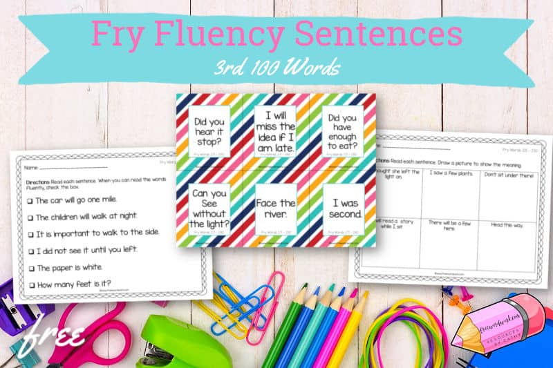 These free Fry fluency sentences #3 for the 3rd 100 words will help your children work on fluency plus the third set of Fry words.