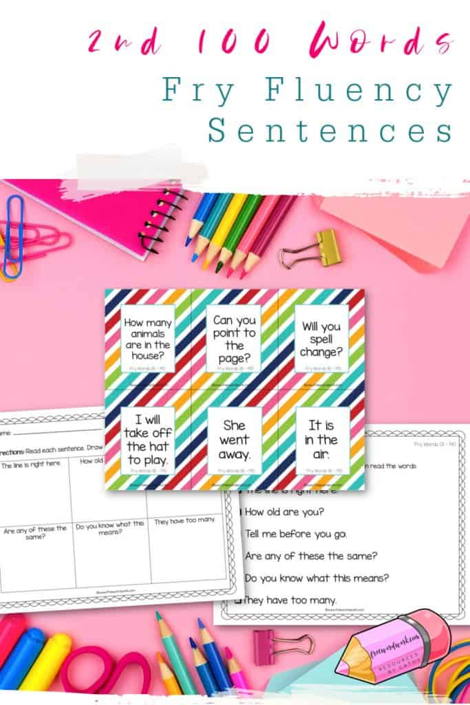 These free Fry fluency sentences #2 for the 2nd 100 words will help your children work on fluency plus the second set of Fry words.