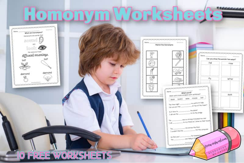 This set of free homonym worksheets will help your children learn about and practice homonyms.