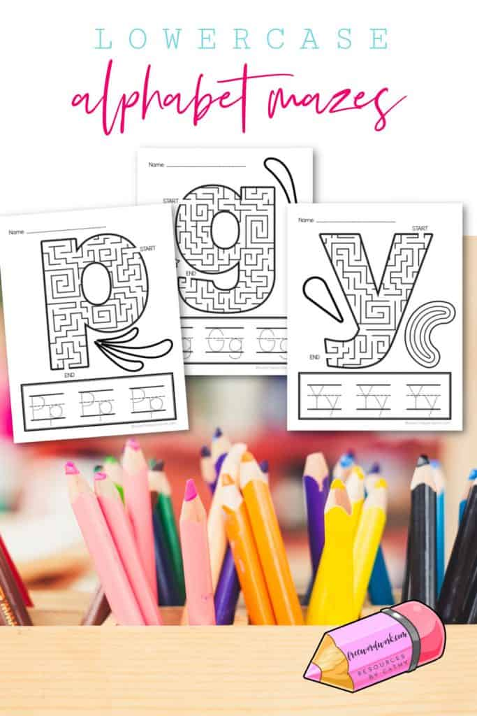 Work on lowercase alphabet mazes with these free printables worksheets for letter practice.