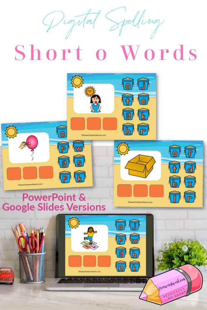 Your child can work on spelling short o words with this free CVC words digital resource.