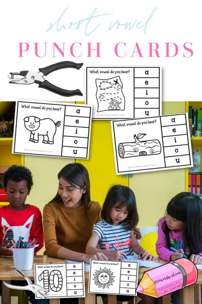 Download these short vowel punch cards for your child's phonics practice.