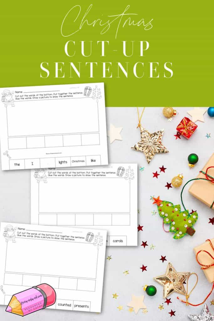 These Christmas cut-up sentences offer a fun way to practice literacy skills with a Christmas theme.
