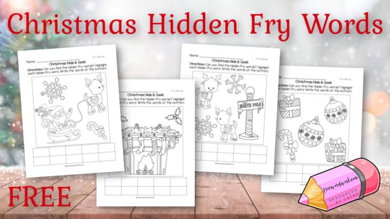 These free Christmas hidden Fry words will help your children practice sight words with a fun theme for the holiday season.