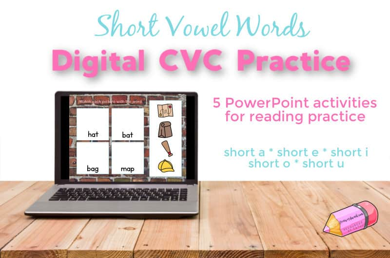 This PowerPoint activity will give your children digital CVC practice with reading short vowel words.