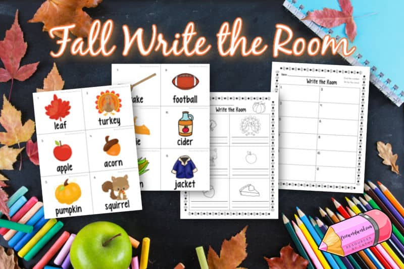 Add this fall write the room to your classroom literacy centers that involve movement.