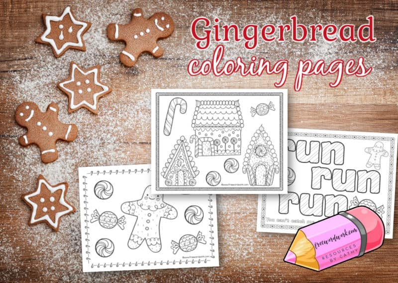 Children will enjoy these gingerbread coloring pages as a themed option during a break at home or school.