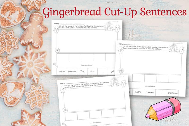 Use this set of gingerbread cut-up sentences as a winter-themed literacy activity for your children.