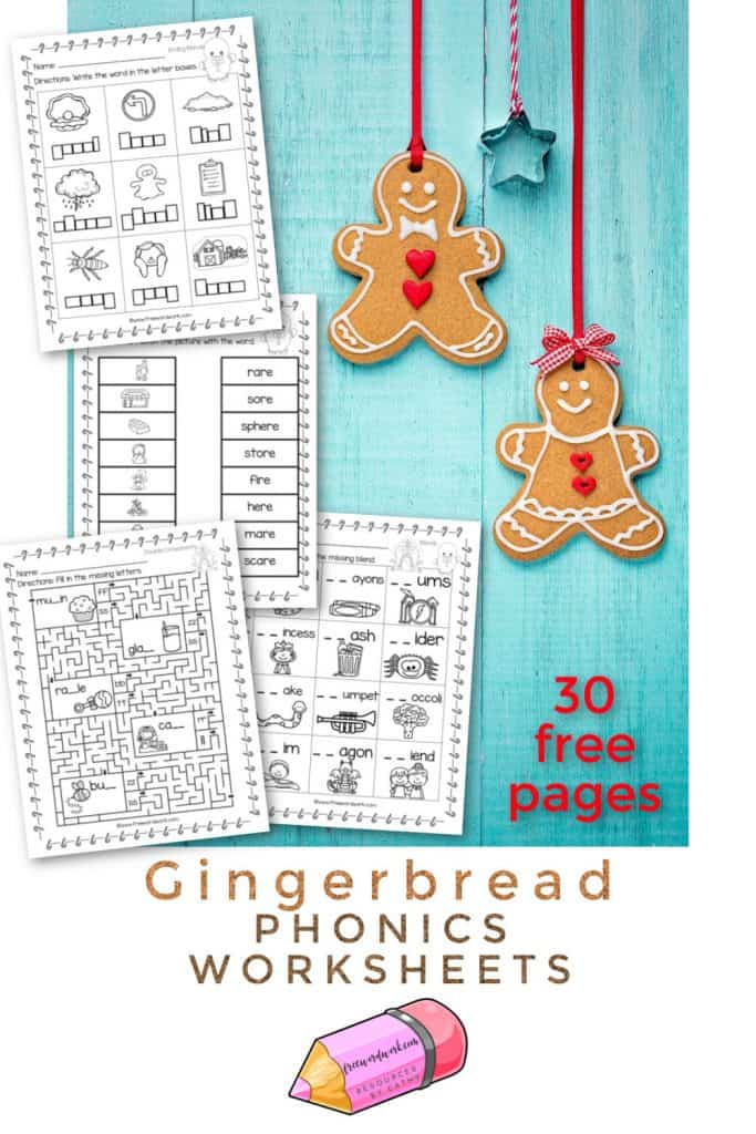 This set of gingerbread phonics worksheets will add a little themed fun to your phonics practice in the classroom.