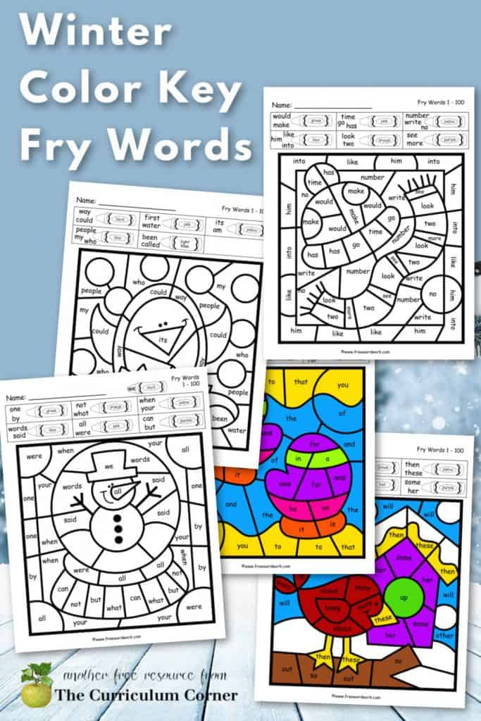 Download this set of free Winter Fry Color Code Worksheets for sight word practice. Free from www.freewordwork.com.
