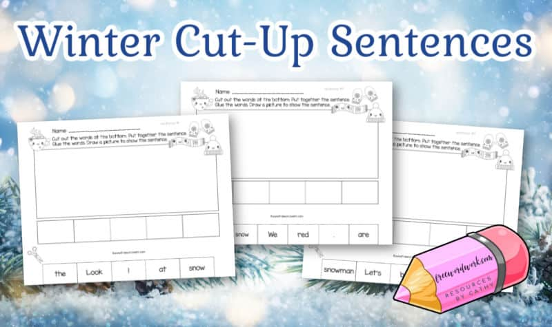 This set of winter cut-up sentences will help your children practice simple sentences with a winter theme.