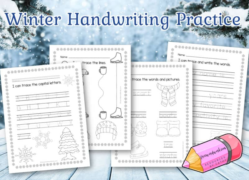 Download this free set of winter handwriting practice worksheets to help your children work on handwriting in a fun manner.
