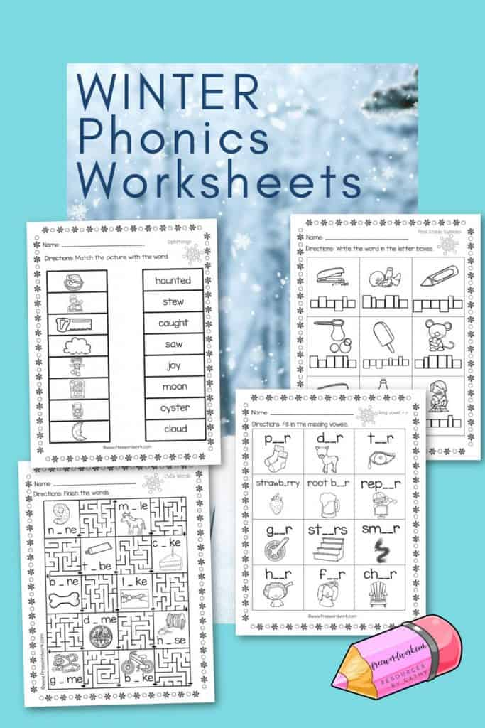 Download these free winter phonics worksheets to help your students practice phonics skills this winter.