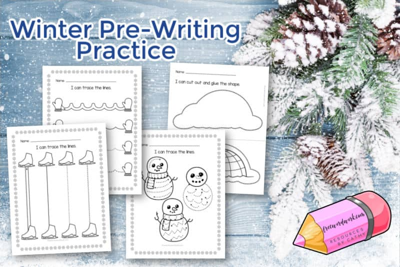 These free winter pre-writing practice worksheets are designed to help your children working on tracing and cutting.
