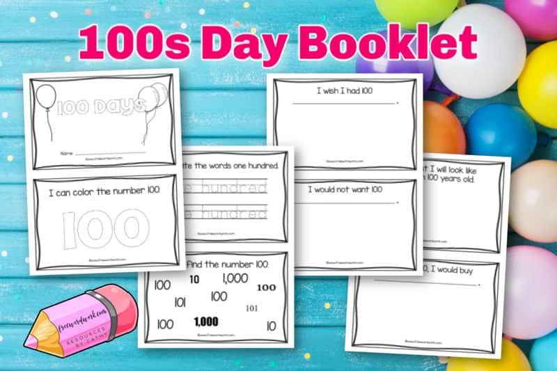 Download this free hundreds day booklet to help your children celebrate the 100th day of school.