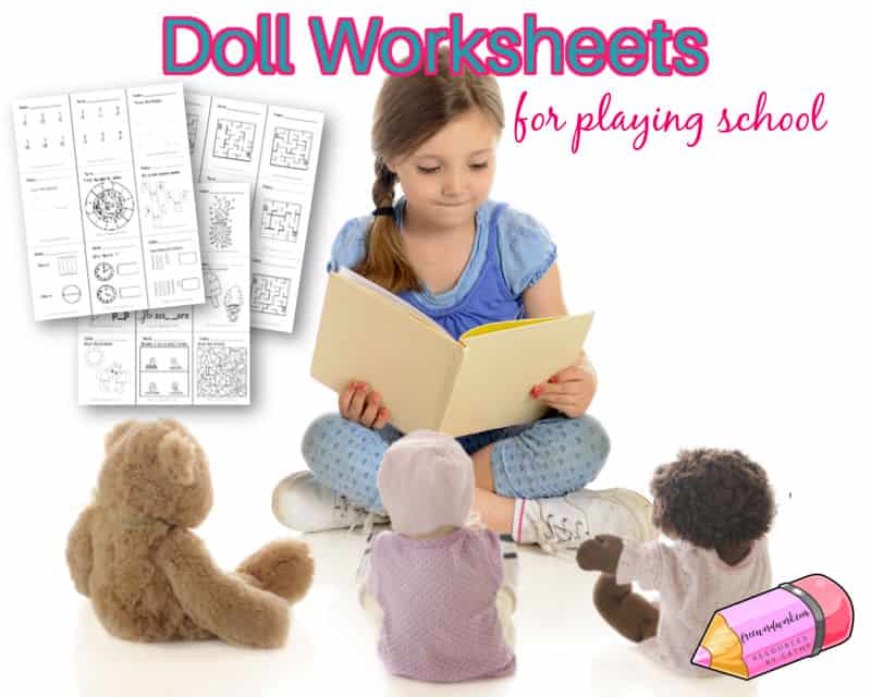 These doll worksheets will be so fun for your little girl or boy who loves playing school at home with their dolls.